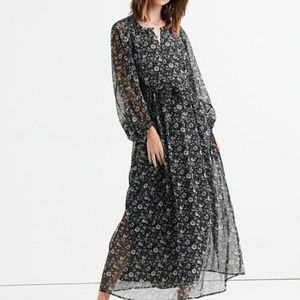 Lucky Brand Floral-Print Maxi Dress Black White L